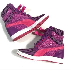 Puma Sky Wedge Hot Pink And Purple Reptile